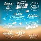 Vintage zomer typografie ontwerpen met labels. vectoren — Stockvector