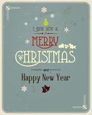 Tipografia biglietto di auguri di Natale. Vector — Vettoriale Stock