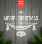 Wood background with a typographic Retro Christmas Design.Vector — Stockvektor