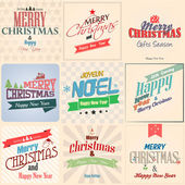 Vintage styled Christmas Card - Set of calligraphic and typograp — Stok Vektör