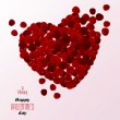 Red rose petals heart. Valentine's Day. Vector — Stock Vector