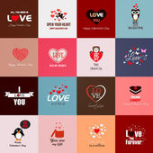 Happy valentines day cards. Vector — Stok Vektör