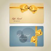 Gift cards with bows and ribbons. Vector — Vector de stock
