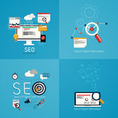Flat concept of seo process- SEO data analysis. Vector — Vecteur