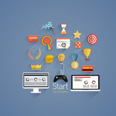 Gamification in business- Flat design — Cтоковый вектор