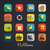 Modern flat icons vector collection with long shadow effect — Stock Vector