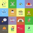 Easter cards Collection in Flat Design Style. Vector — Stock Vector