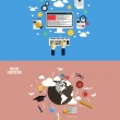 Icons for online education and e-learning. Flat style — Stock Vector