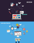 Icone per grafica seo e web design. piano di stile. vector — Vecteur