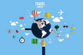 Modern vector illustration icons set of traveling, planning a su — Vecteur
