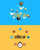 Icons for Start up. Flat style — ストックベクタ