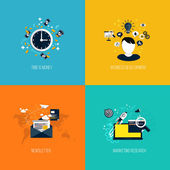 Icons for time is money, business development, newsletter and ma — ストックベクタ
