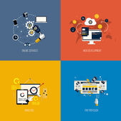 Icons foronline services, web development, analysis and pay per  — Vector de stock