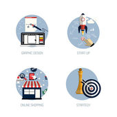 Icons for graphic design, start up, online shopping and strategy — Stock Vector