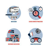 Icons for seo, web design, responsive web design and marketing r — Stock Vector
