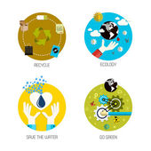 Icons for recycle, ecology, save the water, go green. Flat style — Stock Vector