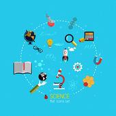Набор иконок для науки. Плоский дизайн — Cтоковый вектор