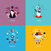 Icons for leadership, planning, gamification and teamwork. Flat  — Stockvector