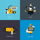 Icons for protection, support, multimedia device and quck respon — Stockvector