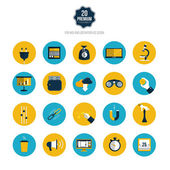 Set of icons for mobile app and web. Flat desing with trendy col — Cтоковый вектор