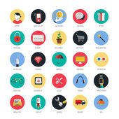 Set of icons for mobile app and web. Flat desing with trendy col — Stok Vektör
