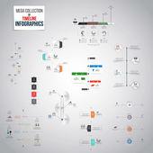 タイムラインのインフォ グラフィック オブジェクトのメガコレクション — ストックベクタ