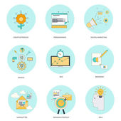 Set of flat line icons — Stock Vector