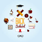 Back To School  Background With Flat Icon Set — Stock Vector