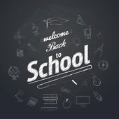Welcome Back To School Typographical Background — Stock Vector