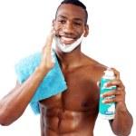 Handsome Black Man Shaving (4) — Stock Photo