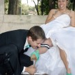 Stock Photo: Bride and Groom Outdoors (9)