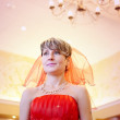 The girl bride in a red dress — Foto Stock