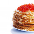 Pile of pancakes with red caviar — Stock Photo #23148530