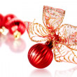 New Year's red balls with a bow. — Stock Photo