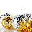 Mirror spheres and New Year's tinsel. — Stock Photo #36479963