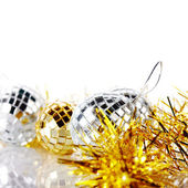 New Year's tinsel and New Year's balls. — Stock Photo