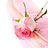 Pink rose and towel. — Stock Photo