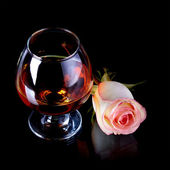 Glass and rose. — Stock Photo