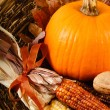 Fall Decorations With Pumpkin And Indian Corn — Stock Photo #12108529