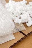 Krabice z vlnité lepenky a obalových materiálů — Stock fotografie