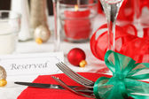 Reserved Christmas Restaurant Table — Stock Photo