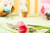 Pink Tulips On An Easter Table — Stock Photo
