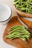 Preparing Fresh Homegrown Green Beans - Overhead View — Stock Photo