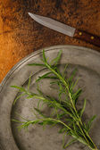 Fresh Rosemary On A Pewter Plate — Stock Photo