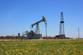 Drilling rig and oil pumps — Stock Photo