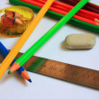 Art supplies. Pencils, ruler, eraser, pencil sharpener — Stock Photo #23905923