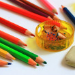 Art supplies. Pencils, ruler, eraser, pencil sharpener — Stock Photo