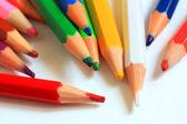 Výtvarné potřeby. tužky, pravítko, guma, ořezávátko — Stock fotografie