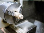 Hobby of craftmanship of wood with lathe — Stock Photo
