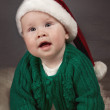Happy small kid in santa hat — Stok fotoğraf